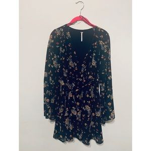 Free People Black Floral Bell Sleeved Dress